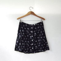 90s Floral Mini Skirt. Button Front Revival Skirt. High Waist Skirt