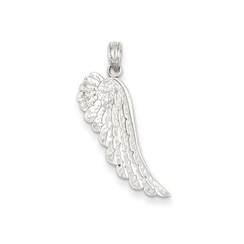 14k White Gold Polished & Textured Angel Wing Pendant