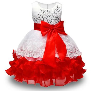 Baby lace princess dress for girl elegant birthday party dress girl dress Baby girl's christmas clothes 2-8yrs