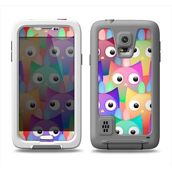 The Multicolored Shy Owls Pattern Samsung Galaxy S5 LifeProof Fre Case Skin Set