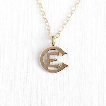 Antique Victorian Pendant - 10k Rose Gold Letter E / EC Brooch Pin Conversion Charm Ne