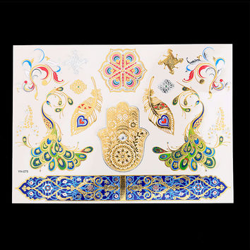 New Design 1PC Temporary Flash Metallic Tattoo Gold Silver Colorful Peacock Feather Palm YH-075 Bohemian Tattoo Sticker Products