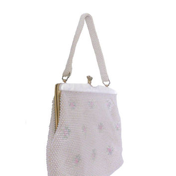 Vintage 1960s Purse Beaded White and Floral Handbag with Matching Beaded Handle Lucite Frame and Kiss Lock Closure Made in Hong Kong