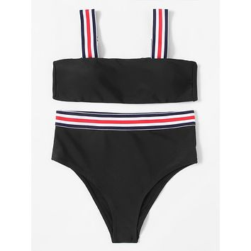 Striped Straps Bikini Set