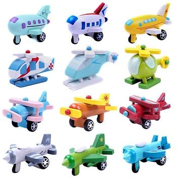 Wooden Airplane Toy Multi-pattern Mini Die casts Kids Baby Educational Gift Baby Toys for Children Randomly Sent