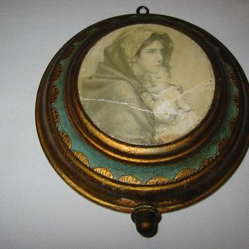 Ave Maria Reuge Florentine Music Box Swiss Movement Madonna Child Picture