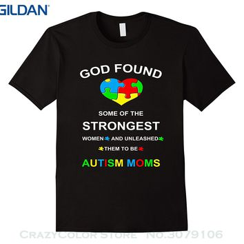 Printed Men T-shirt Short Sleeve Funny Tee Shirts Autism Shirts - Autism Awareness Mom T-shirts