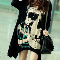 Women's long sleeve T-shirt loose casual T-shirt personality T-shirt skull t-shirt black grey long T-shirt M--XXXL D44