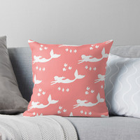 'Mermaid Pattern Coral Pink' Throw Pillow by Abigail Davidson