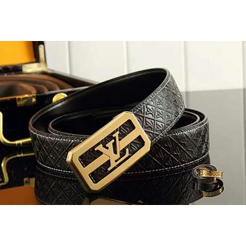 LV Louis Vuitton casual fashion belt personality men and women smooth buckle belt gold buckle