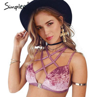 Simplee Sexy lace up velvet lace bra women lingerie Padded strappy push up bra Deep v wirefree bralette top backless intimates
