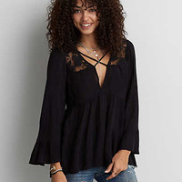 AEO Lace Yoke Tunic , Black