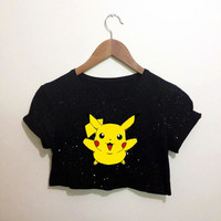 Pikachu Pokemon Black Crop Top T Shirt Festival Hippie Emo Hipster Kawaii
