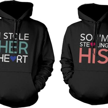 Romantic Matching Couple Hoodies Loving Texts Pullover Hoodies I Stole His Or Her Hearts Couple Sweatshirt For Boys And Girls