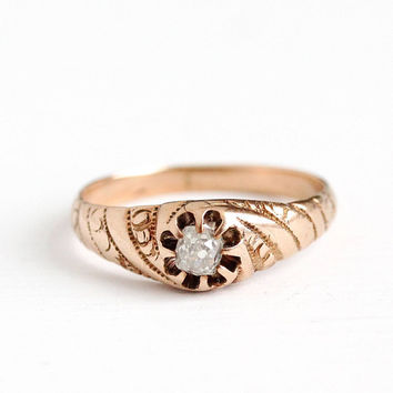 Antique Victorian 14k Rose Gold Old Mine Cut .26 CT Diamond Ring - Vintage Size 5 3/4 Belcher Solitaire Engagement Swirling Fine Jewelry