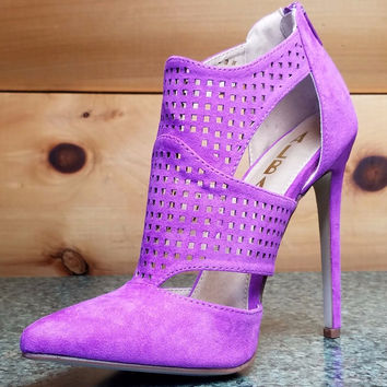 "Alba Nichole Purple Micro Suede Pointy Toe Shoe Bootie 4.5"" Stiletto Heels 6- 11"