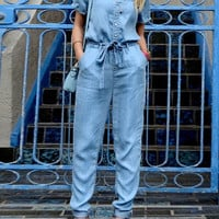 Blue V-Neck Denim Jumpsuit