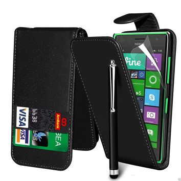 Black PU Leather Card Slot Flip Case Cover & LCD Film & Pen For Various Phones