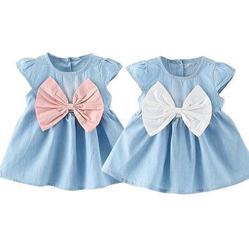 Sweet Baby Girls Bow-knot Design Mini Dress Children Baby Summer Style Fashion Short Sleeve Party Dress Kids Clothes