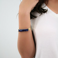 Navy Waves Stone Gold Braclet