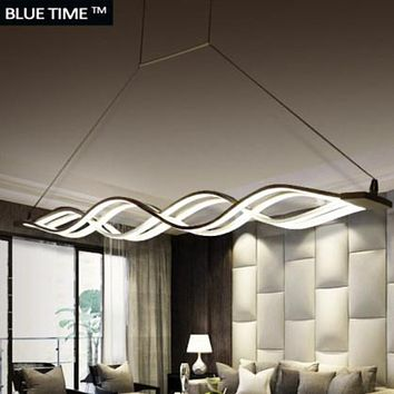 Wave design Black and White  Modern Chandelier Led Lighting