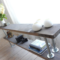 Burton Double Shelf Console Table made with Reclaimed Grey-washed Scaffolding Board and Galvanised Steel Pipe - Bespoke Industrial Furniture