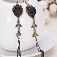 Women Gothic Victorian Style Handmade Black Rose Lace Earrings Vintage ELC007 = 1946806148