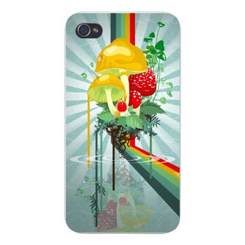 Apple Iphone Custom Case 4 4s Plastic Snap on - Mushroom Patch w/ Rainbow Psychedelic Trip