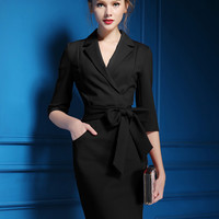 Black Wrap V-Neckline Tie Waist 3/4 Sleeve Dress