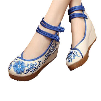 Chinese Mary Jane Shoes in Beautiful Blue Embroidery & Ankle Straps with Floral Patterns