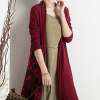 Red Long Sleeve Knitted Cardigan Dress