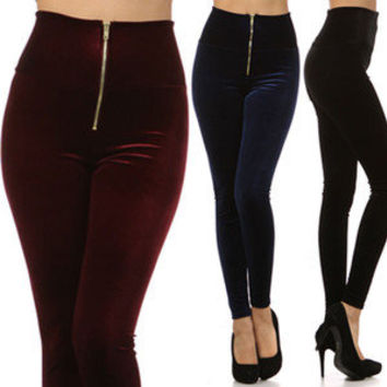 Velvet High Waist Zipper Pants Tight Skinny Stretch Leggings Black Red Blue