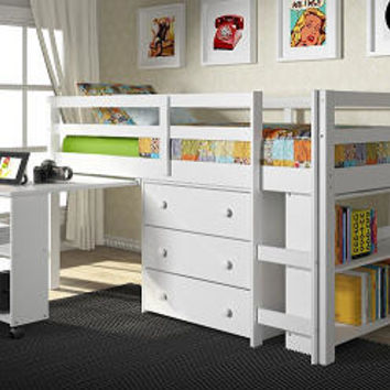 Livorno White Twin Mid High Loft Bed