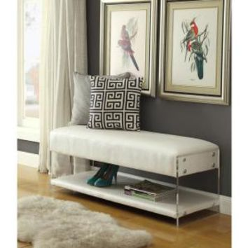Inspired Home Winona White PU Leather Ottoman Bench with Bottom Shelf Acrlic Leg BH04-10CW-HD - The Home Depot
