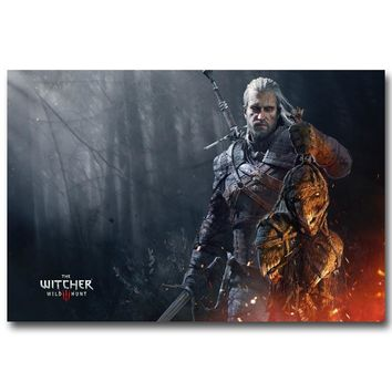 The Witcher 3 Wild Hunt Art Silk Fabric Poster Prints 13x20 24x36inch Game Geralt of Rivia Wall Pictures for Living Room Decor