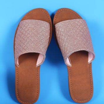 Sunny Feet Quilted Wide Glitter Band Slide Sandal