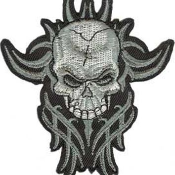 "SKULL Grey Tribal Skull PATCH Iron-On / Sew-On Officially Licensed Skull Artwork, 3.7"" x 3.5"" Embroidered Patch"