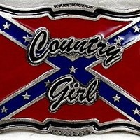 COUNTRY GIRL RED  BELT BUCKLE,WITH REBEL FLAG