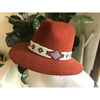 Lovely Bird San Miguel Hat Seed Beaded Navajo Hat Band Rust Felt Wide Brim Fedora Boho Festival Sold Out Everywhere!