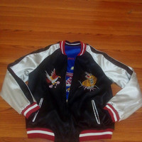 Sukajan Reversible Jacket Tiger &Eagle  yokosuka  embroidery bomber souvenirs satin medium jacket