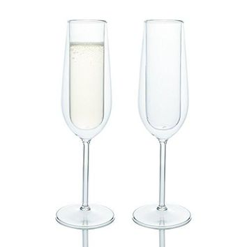 Elegant Classic Double Wall Champagne Flutes Glass Set of 2 Special Occasions Toasting Wedding Engagement Party