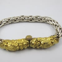 Vintage Chinese Dragon Bracelet Naga Sterling 22K Gold Vermeil Basketweave Design Unisex