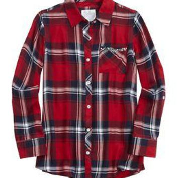 Embellished Pocket Plaid Button Up Shirt | Girls Tops Clothes | Shop Justice
