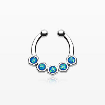 Opal Hexa Gemina Fake Septum Clip-On Ring