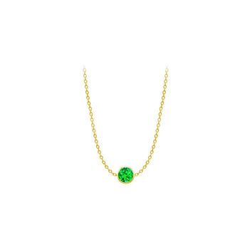 Diamond By The Yard Frosted Emerald Necklace on 14K Yellow Gold Bezel Set 1.00 ct.tw
