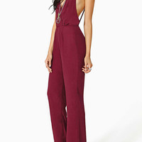 Brown V-Neck Backless Flared Leg Jumpsuit