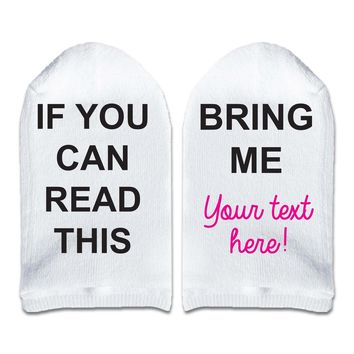 If You Can Read This Bring Me __ (Fill in the Blank) Women's No Show Socks Printed with Text on Sole