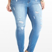 Plus Size Dezi Destructed Skinny Jeans | Fashion To Figure