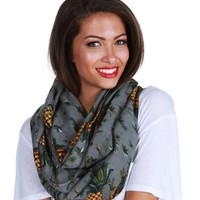 Sale- Gray Pineapple Infinity Scarf