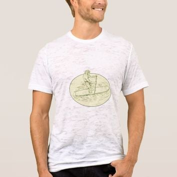 Surfer Dude Stand Up Paddle Oval Drawing T-Shirt